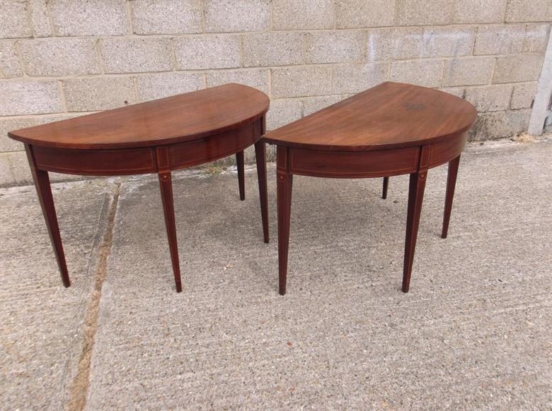 Pair Antique Console Tables - Late 18th Century Sheraton Period Pair Demi Shaped Console Tables