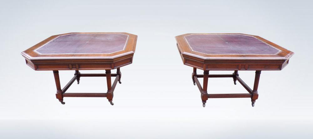 Pair Antique Library Tables Or Desks Leather Top