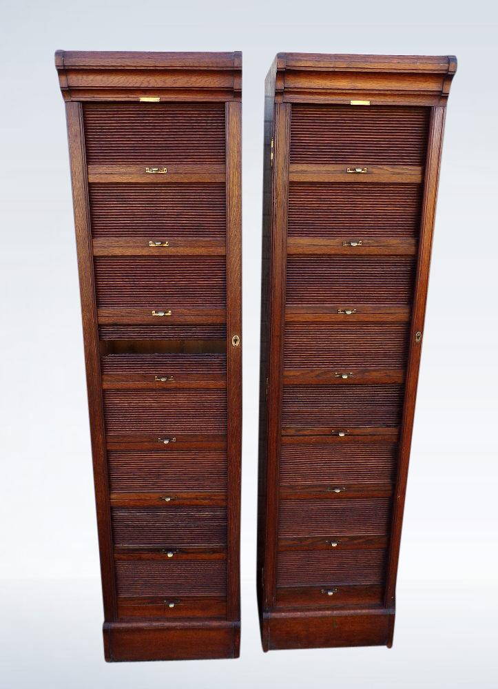 Pair Antique Oak Filing Cabinets Tambour Fronted