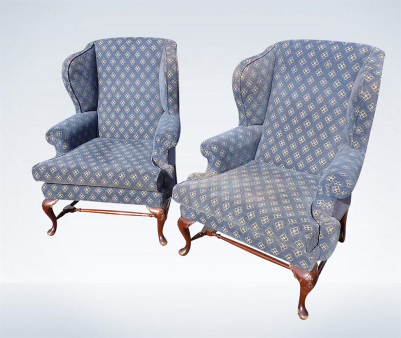 Pair Antique Wingback Chairs From Georgian Revival Period