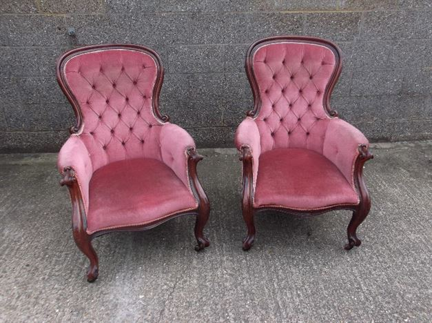 Pair Of Victorian Mahogany Spoon Back Library Armchairs - Antique Chairs UK - Antique Occasional Chairs - Antique Armchairs