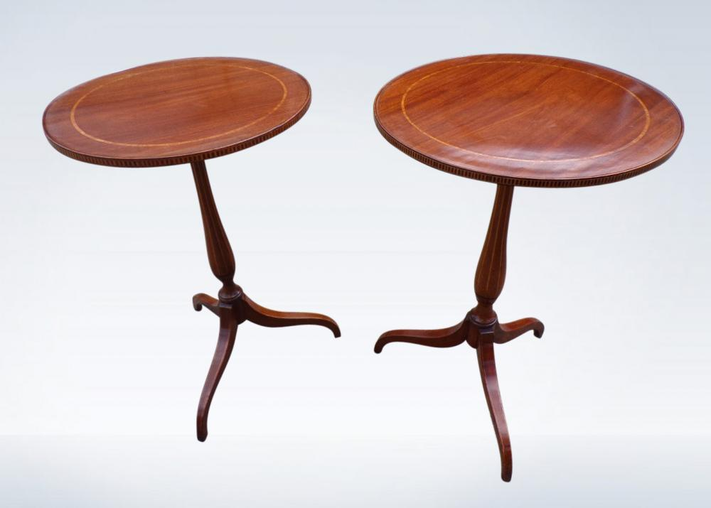 Pair Round Georgian Revival Wine Side Tables