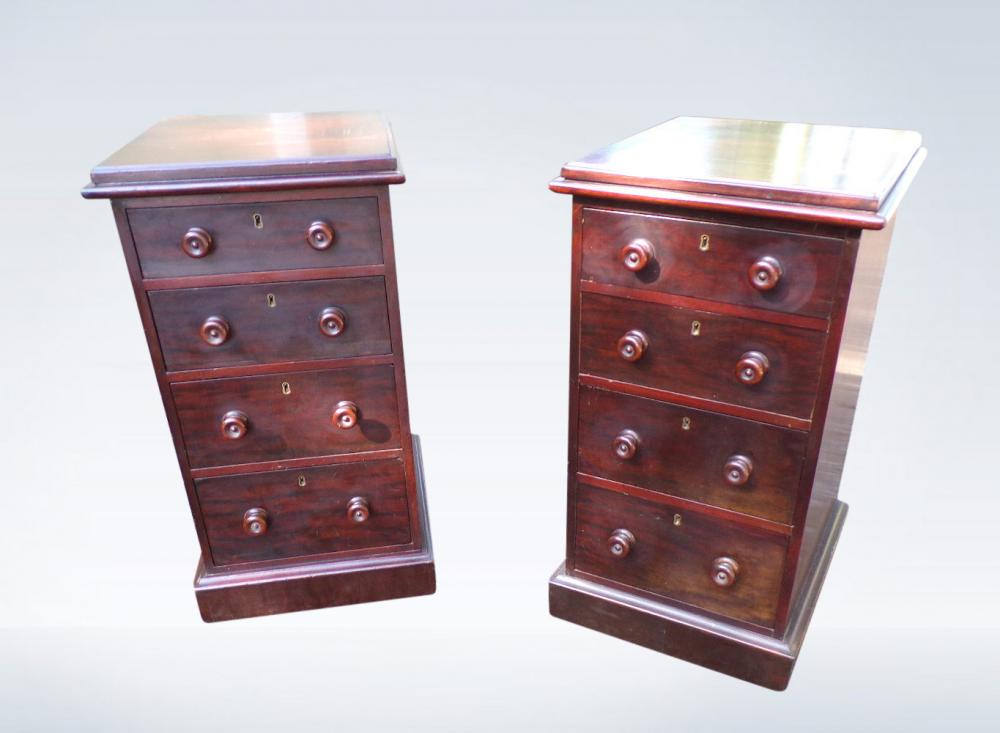 Pair Victorian Bedside Chest Tables
