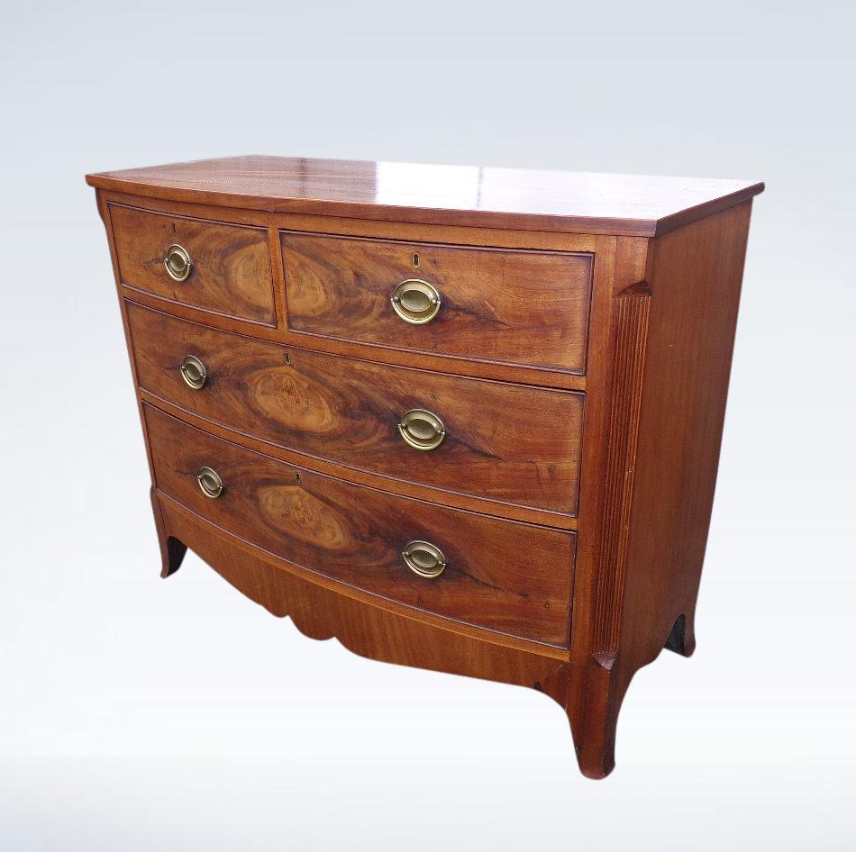 Regency Bow Fronted Chest Of Drawers Flame Mahogany