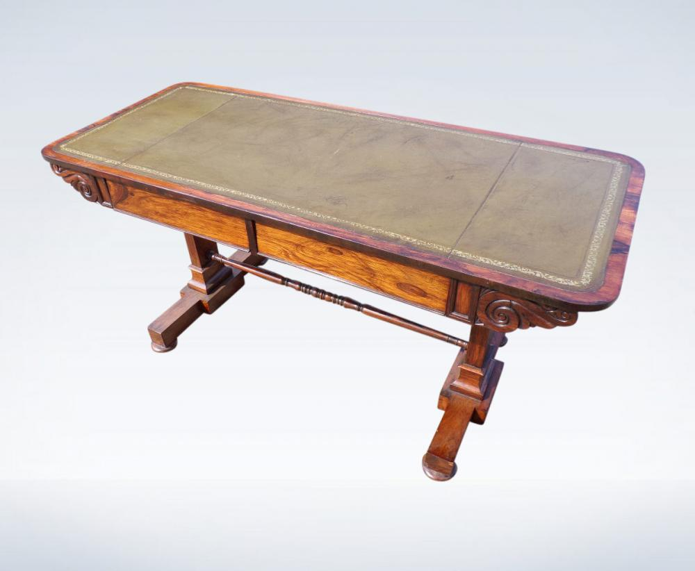 Regency Library Table In Rosewood With Leather Writing Surface