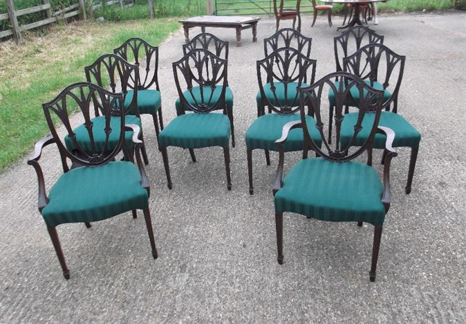 Set 10 Antique Dining Chairs - Georgian Revival Hepplewhite Mahogany Dining Chairs Eight Singles Two Carvers.