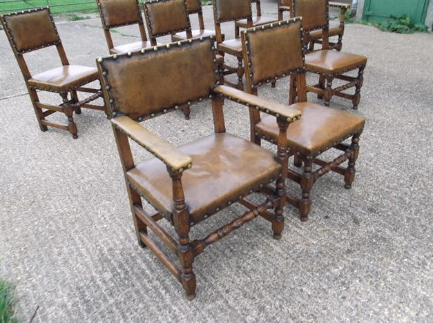 Set 10 Antique Oak Chairs - Cromwellian Design Oak And Leather Refectory Chairs