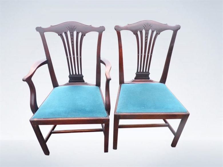 Set 10 Georgian Mahogany Antique Dining Chairs Of Chippendale Revival