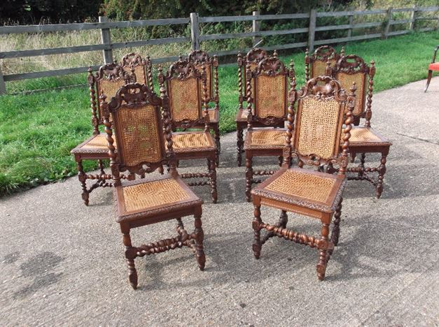 Antique Furniture Warehouse Set 10 Oak And Cane Chairs