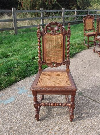 Antique Furniture Warehouse Set 10 Oak And Cane Chairs Ten Jacobean Carved Oak