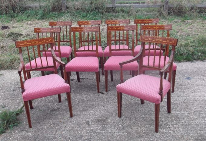 Set 10 Sheraton Dining Chairs - Ten Sheraton Revival Mahogany And Inlaid  Dining Chairs With Carvers - ANTIQUE FURNITURE WAREHOUSE - Set 10 Sheraton Dining Chairs - Ten