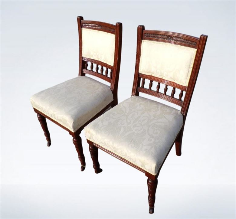 Set 10 Victorian Antique Dining Chairs Arts & Crafts With Padded Backs