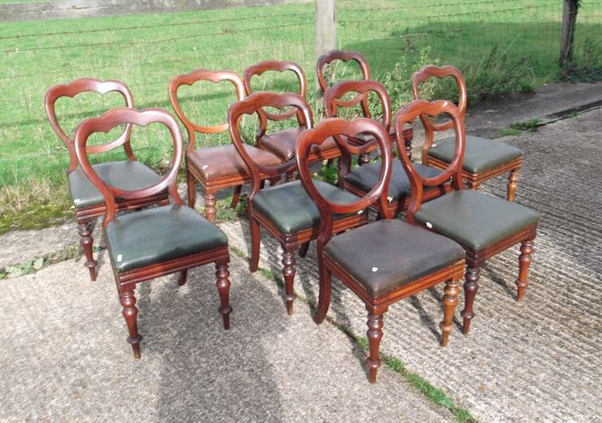Set 10 Victorian Dining Chairs - Set Ten Victorian Mahogany Balloon Back Dining Chairs