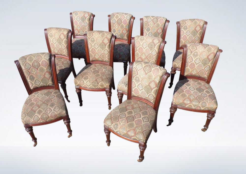 Set 10 Victorian Mahogany Dining Chairs With Padded Backs