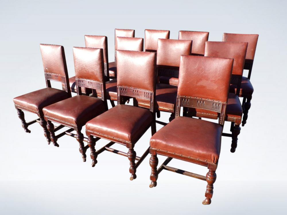 Set 12 Antique Arts & Crafts Dining Chairs With Padded Backs