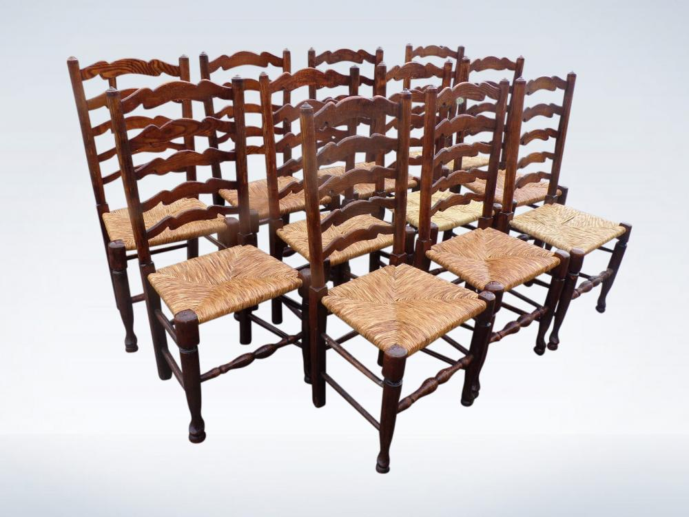 Set 12 Antique Country Chair Ladder Back Rush Seats