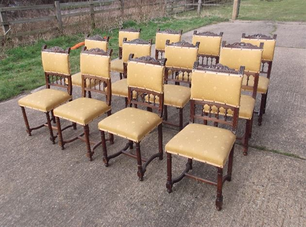 Set 12 Antique Dining Chairs - Set Of Twelve French 19th Century Walnut Dining Chairs