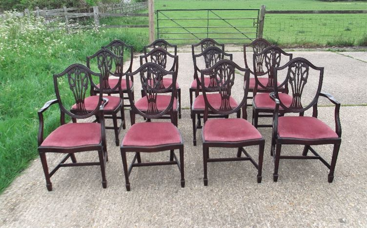 Set 12 Antique Dining Chairs - Set Twelve Georgian Hepplewhite Design Mahogany Dining Chairs