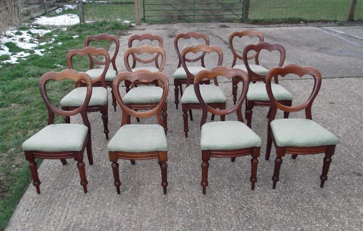 Set 12 Antique Dining Chairs - Twelve Victorian Mahogany Balloon Back Dining Chairs