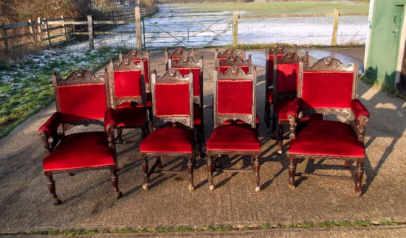 Set 12 Antique Oak Chairs - Set Twelve Jacobean Carved Oak Dining Chairs With Carvers