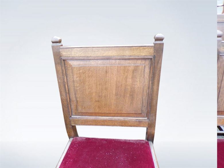 Set 12 Antique Oak Dining Chairs Jacobean Panel Back Refectory
