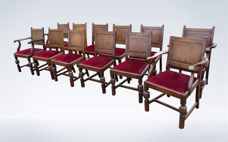 premium selection ce7d6 153bb Set 12 Antique Oak Dining Chairs Jacobean Panel Back Refectory