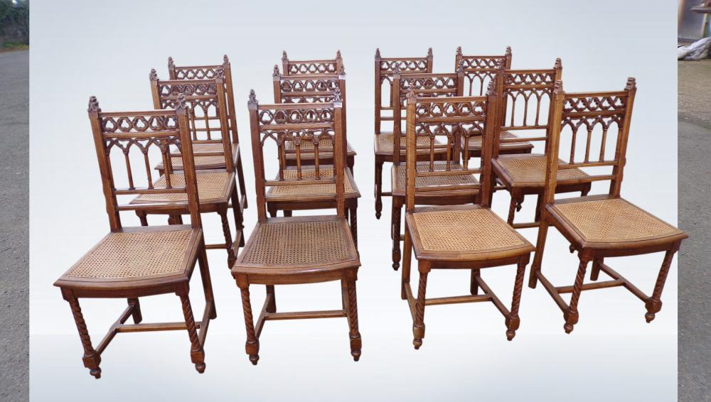 Set 12 Arts Crafts Antique Dining Chairs