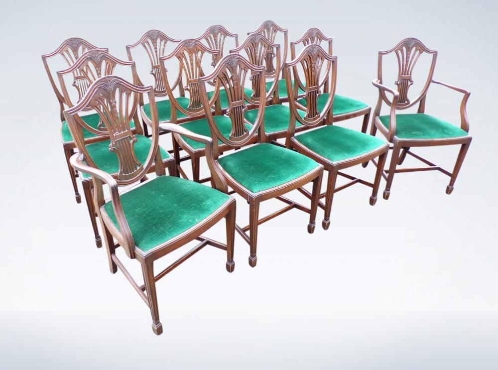 Set 12 Edwardian Hepplewhite Shield Back Dining Chairs