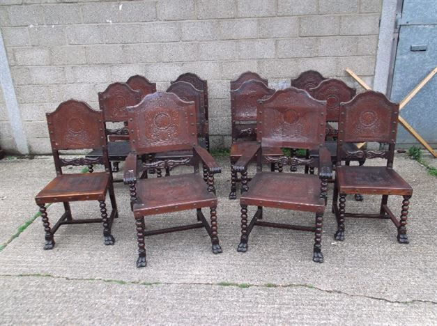 Set 12 Leather Refectory Chairs - Twelve  Carolean Manner Embossed Leather Antique Dining Chairs