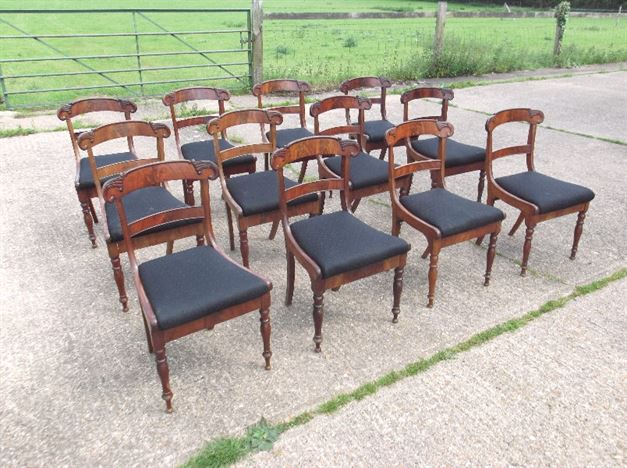 Set 12 Regency Dining Chairs - Set Twelve Original Georgian Bar Back Dining Chairs