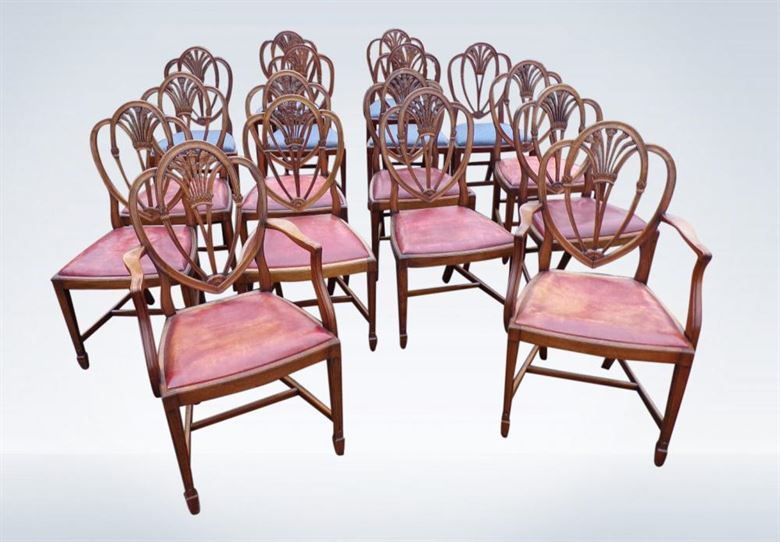 Set 14 Antique Dining Chairs Of Georgian Revival Hepplewhite Manner