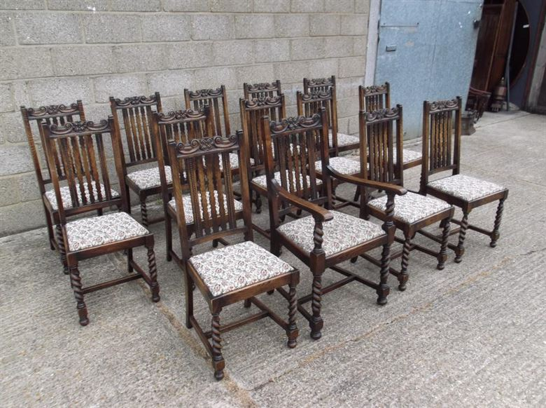 Set 14 Antique Oak Dining Chairs - Fourteen Jacobean Oak Framed Dining  Chairs Carved With Barley - ANTIQUE FURNITURE WAREHOUSE - Set 14 Antique Oak Dining Chairs