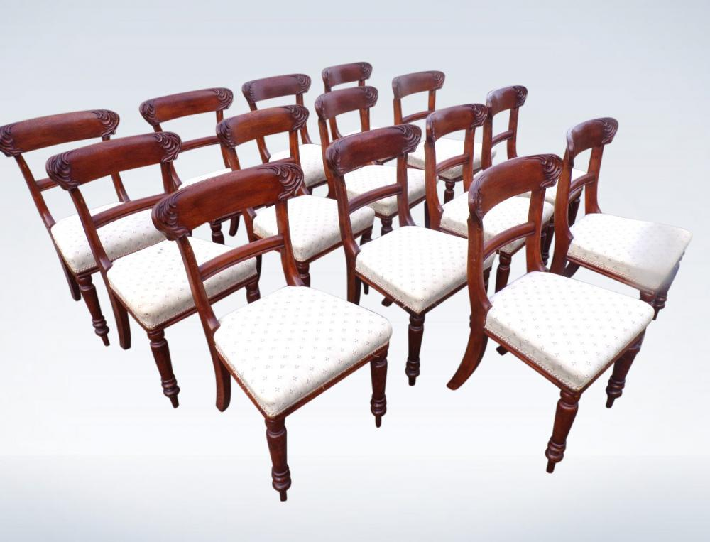 Set 14 Victorian Oak Dining Room Chairs Bar Back