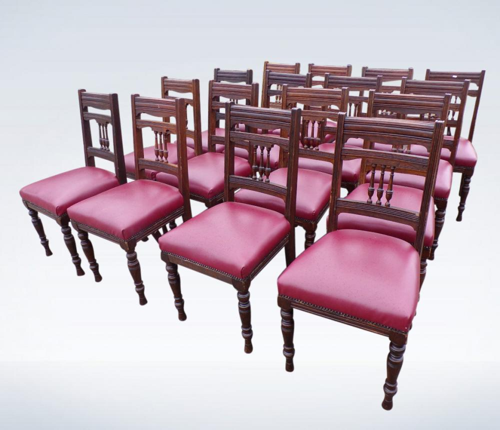 Set 16 Antique Dining Chairs From Victorian Arts Crafts Period