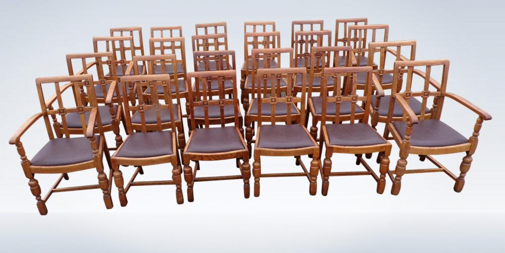 Set 24 Antique Dining Chairs From Edwardian Arts Crafts Period