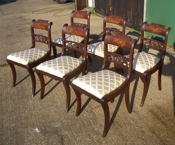 Set 6 Georgian Chairs - Set of Six Regency Bar Back Dining Chairs with  Sabre Legs - ANTIQUE FURNITURE WAREHOUSE - Set 6 Georgian Chairs - Set Of Six