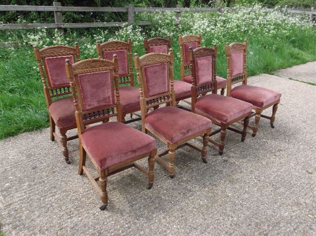 Set 8 Antique Dining Chairs - Eight Late Victorian Arts & Crafts Oak Framed Dining  Chairs - ANTIQUE FURNITURE WAREHOUSE - Set 8 Antique Dining Chairs - Eight