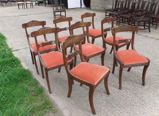 Set 8 Antique Dining Chairs