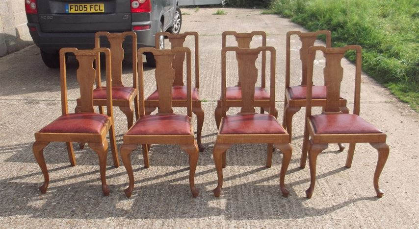 Set 8 Antique Oak Chairs - Set Eight Late Victorian Arts & Crafts  Influenced High Back Oak Dining Chairs - ANTIQUE FURNITURE WAREHOUSE - Set 8 Antique Oak Chairs - Set Eight