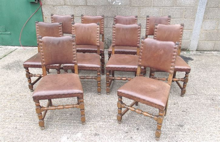 Set 8 Antique Oak Leather Chairs - Set Eight Oak Framed Refectory Chairs With Leather Upholstery