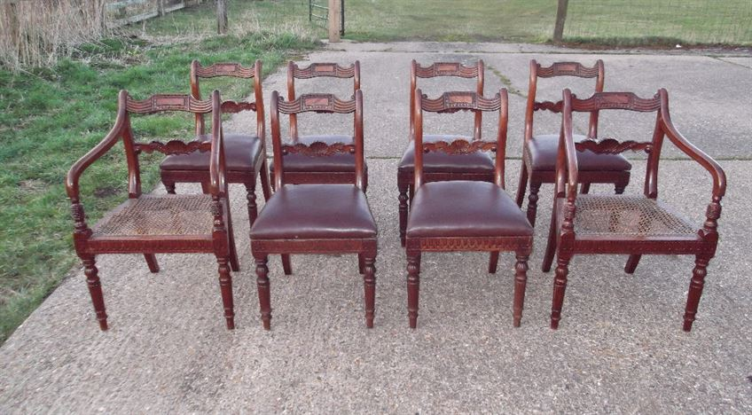 Set 8 Georgian Dining Chairs - Set Eight Regency Period Mahogany Bar Back Dining Chairs With Carvers