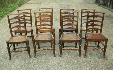 Beau Set 8 Period Oak Chairs   Set Of 8 18th Century Oak Lancashire Ladderback Farmhouse  Chairs