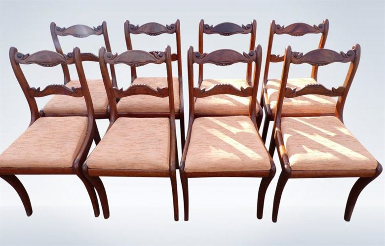 Set 8 Regency Dining Chairs In Mahogany With Bar Backs And Sabre Legs