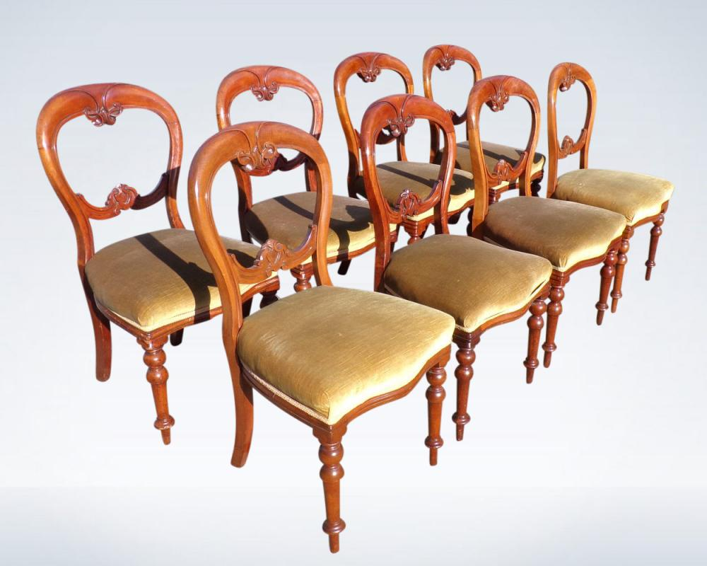 Set 8 Victorian Balloon Back Dining Chairs