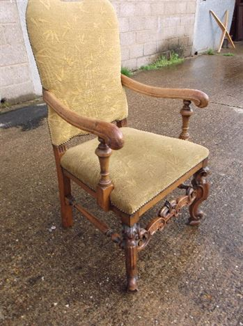 Set Eight Antique Chairs - Set 8 High Back Walnut Framed Carolean Revival Dining Chairs