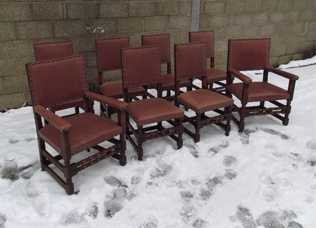 Set Eight Antique Oak Chairs - Set 8 Oak Framed And Tan Leather Cromwellian Refectory Dining Chairs