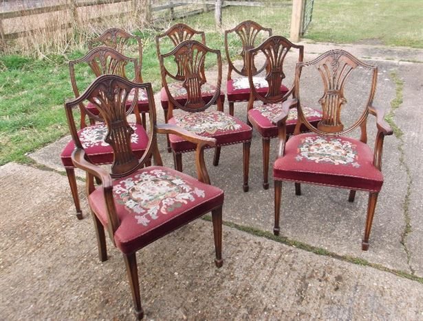 Set Eight Georgian Chairs - Set 8 Hepplewhite Design Georgian Revival Mahogany Dining Chairs With Carvers