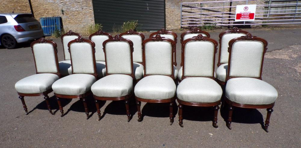 Set Of 10, 12 , 14, 16, 18, 24 Antique Dining Chairs Padded Backs