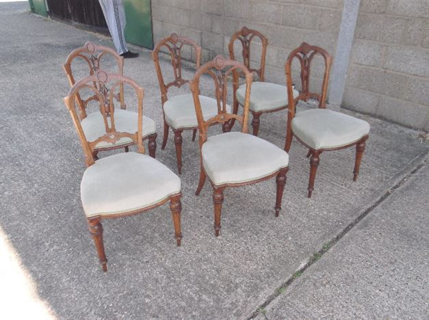 Set of 6 Six Antique Victorian Walnut Dining Chairs - ANTIQUE FURNITURE WAREHOUSE - Set Of 6 Six Antique Victorian Walnut