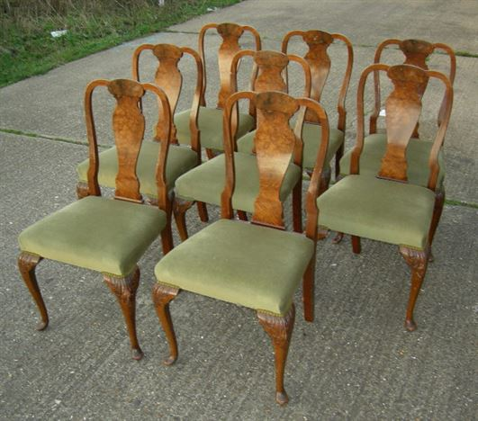 Set Of 8 Queen Anne Chairs - Set Of 8 Eight Queen Anne Walnut Dining Chairs - ANTIQUE FURNITURE WAREHOUSE - Set Of 8 Queen Anne Chairs - Set Of